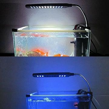 MP power @ Klemmleuchte Clip Lampe Fish Tank Aquarium Beleuchtung Leuchte Weiß und Blau Licht 48 LEDs Einstellbare Soft Arm Schwarz -